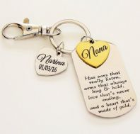 Grandma Personalized  Keyring  with 2 hearts - Boxed